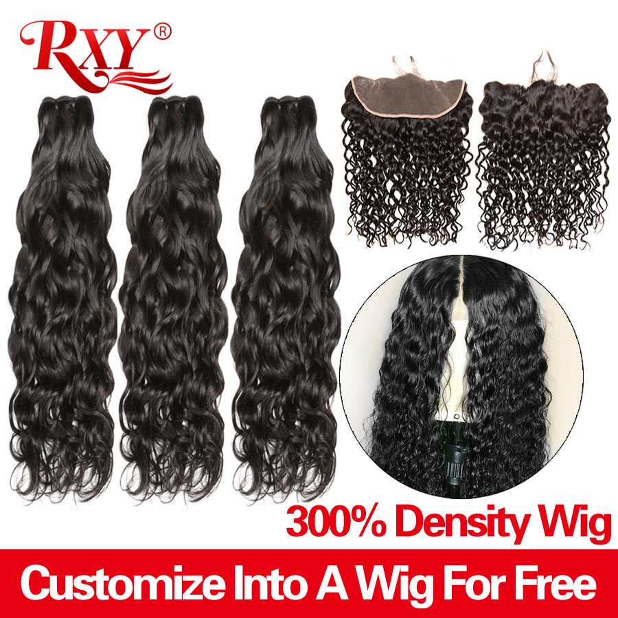 RXY 300 Density Free Customized 13x4 Lace Frontal Wigs By Remy Brazilian Water Wave Human Hair Bundles With Frontal Closure Wig