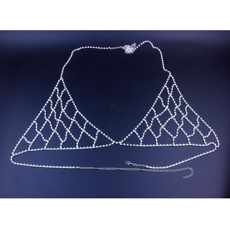 StoneFans Rhinestone Bra Chain Crystal Beach Body Jewelry Shiny Chest Harness Bikini Body Chain Women Necklace Drop Shipping 2