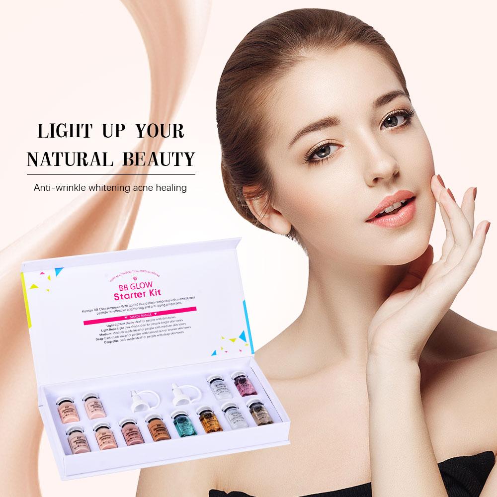 Korean Makeup BB GLOW Ampoule Meso Whitening Serum Starter Kit Mix Shades Brightening Foundation Acne Healing Treatment Cream