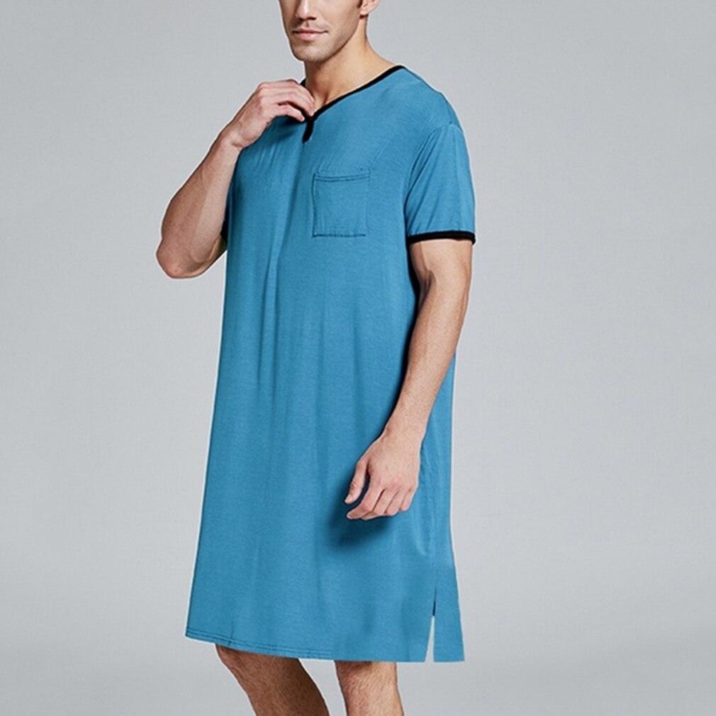 Men's Pajamas Dress Men's Short Sleeve Nightwear Short Top Pant Summer Loose Casual Male Leisure Elastic Waist Male Sleepwear
