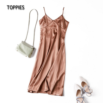 Toppies 2021 Women Satin Dress Party Luxury Shiny Sundress Sexy Imitation Silk Fashion Ladies Dress 5