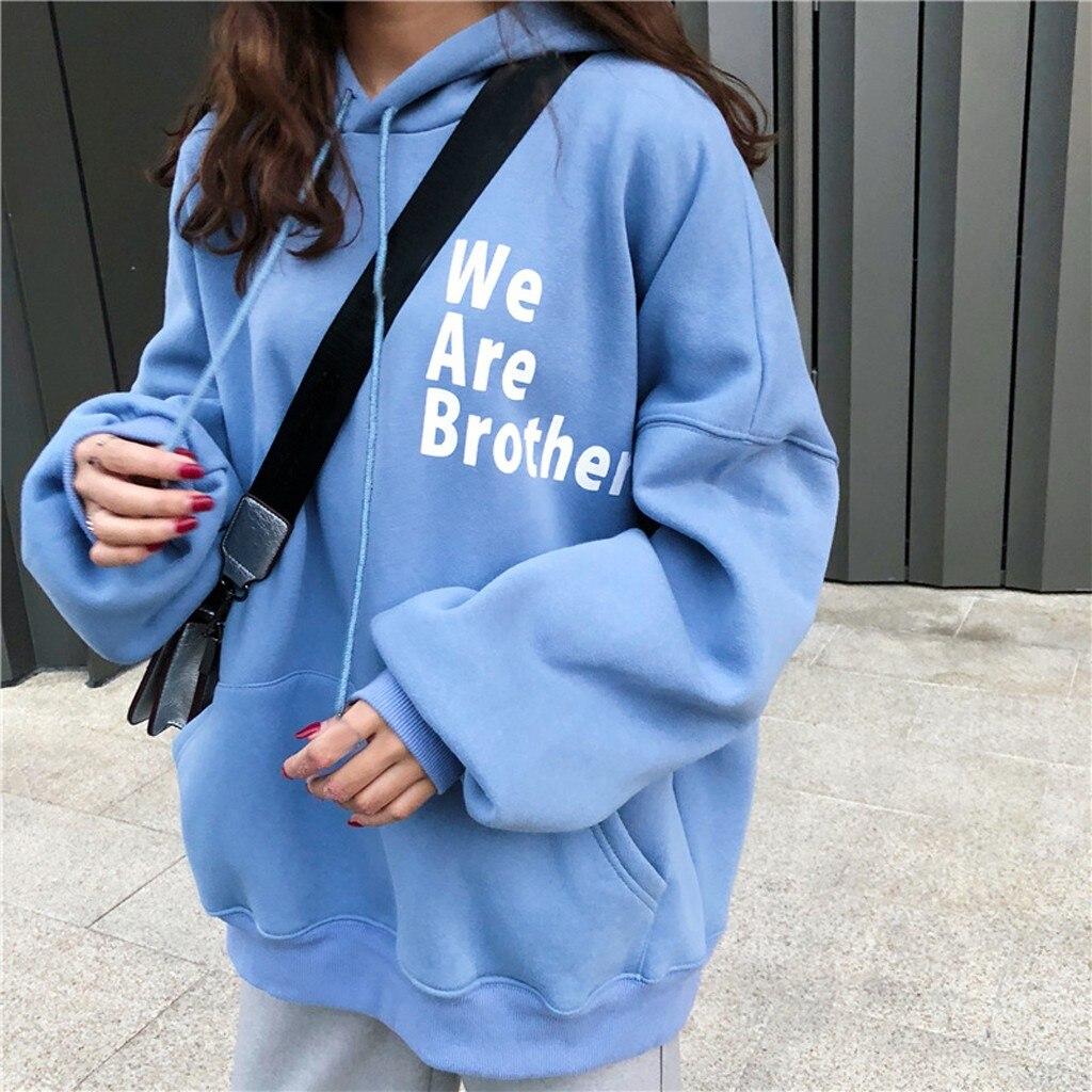 hoodie harajuku Outwear Womens Letter Print Long Sleeve Hoodie Sweatshirt Hooded Pullover Tops Loose korean style sweatshirt top