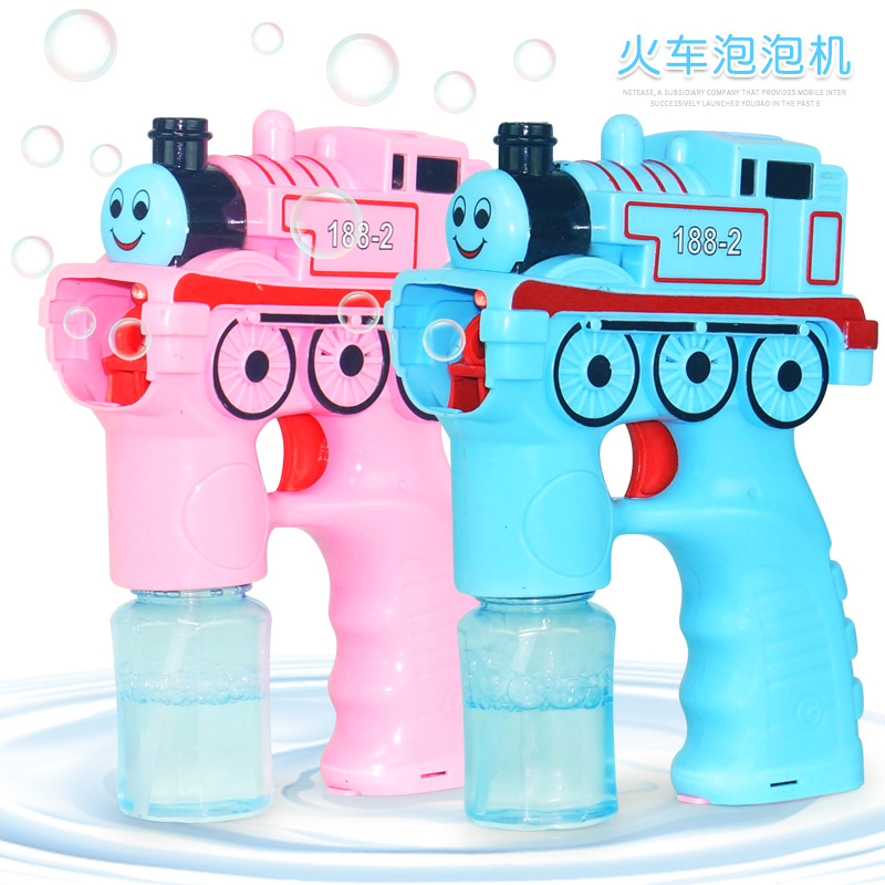 Automatic Train Creative Cartoon Soap Water Bubble Gun Machine Outdoor Swimming Play Blowing Toys With Music Light For Children