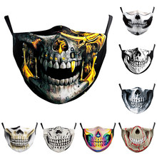 Fashion Skull Series Halloween Horror Cospaly Party Mask Women's Men Breathable Washable Adjustable Face-Protection Adult Masks