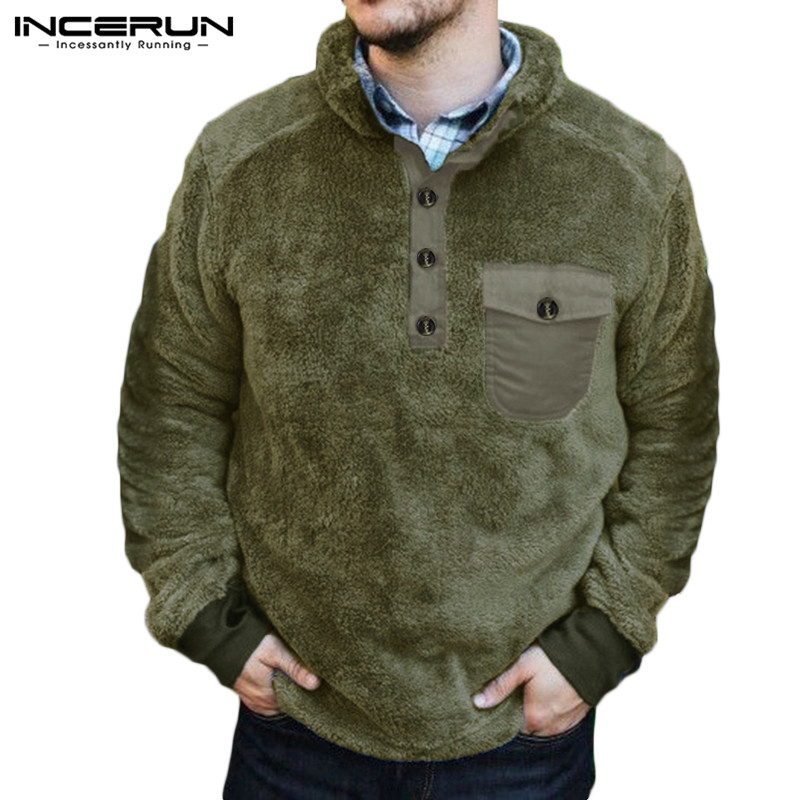 INCERUN Winter Men Sweatshirt Casual Long Sleeve Button Faux Fleece Fluffy Pullovers Stand Collar Men Hoodies Streetwear S-5XL 7