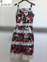 2020 High Quality Strap Summer Celebrity Inspired Women Red Rose Flower Print White Lace Embroidery Patchwork Midi Dress