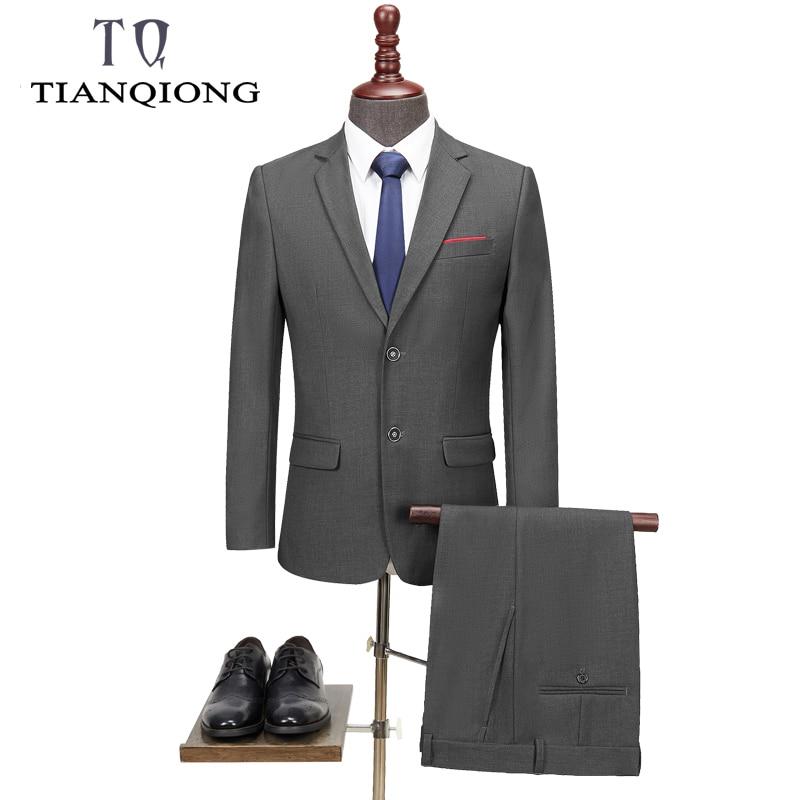 TIAN QIONG Men Suits 2019 Latest Coat Pant Designs Wedding Suits For Men Brand Clothing Slim Fit Black Gray Mens Formal Suit