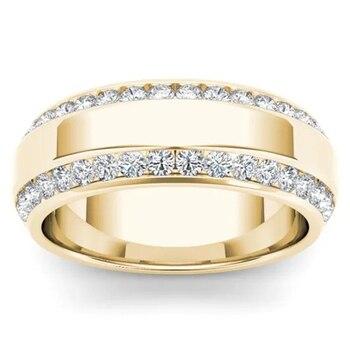 14k Gold White 2 Carat Diamond Wedding Ring for Women Hip Hop Bizuteria Anillos De Diamond Gemstone Jewelry 14K Gold Ring Men 14k rose gold 2 carat diamond ring for women fashion 925 silver color jewelry pure bizuteria gemstone anillos de wedding ring