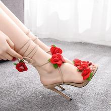 Crystal Queen Women's Sandals  Flowers Sandal Red Rose Flower Cross-tie High-heeled Open Toe Summer Heels Lady Dress Sexy Shoes
