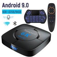 Transpeed 6Kกล่องทีวีAndroid 9.0 4GB RAM 32GB Google Voice Assistantทีวีกล่องWiFi YouTube 6K 3D TOP BOX Media Player