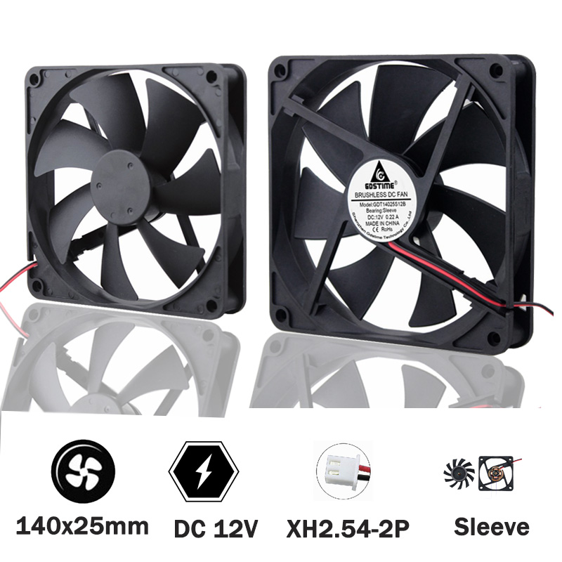 DC 12V 2Pin 140mm 140x140x25mm DC Computer Cooler Cooling IDE Fan Sleeve Bearing