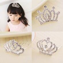 Mini tiara clipes de cabelo princesa coroa pente acessórios para festa de princesa meninas crianças xin-grátis