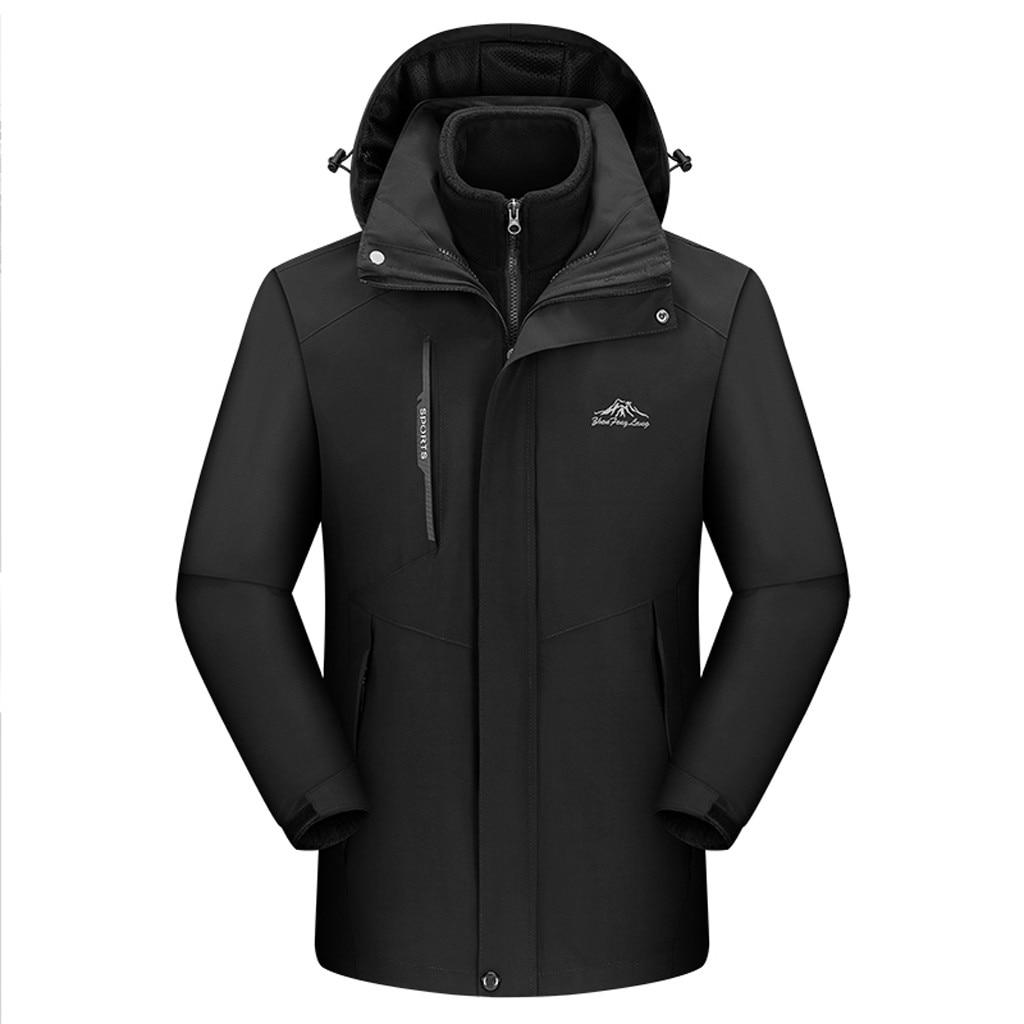 Men Plus Sixe XL-L5 Waterproof Jacket Hooded Detachable Windbreaker Fleece Jacket Softshell Jacket Men Sport Hiking Camping Coat