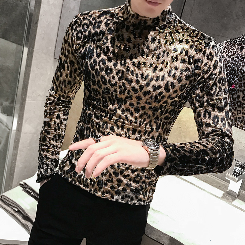 Casual Leopard High Neck Pullover Mens Velvet T Shirts Mens 2019 Fall Stylish Tee Long Sleeves Flannel T-shirts Velour Outfit