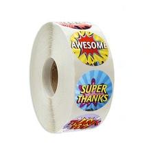 500 pcs/roll stationery sticker round thank you for encourage children, children's day gift decoration