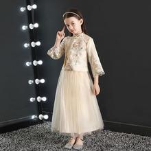 Китайско-Стиль воздушное платье для девочки платье принцессы стиль; сезон осень-зима; Одежда для больших детей; детский Традиционный китайский торжественное платье год хост Costu