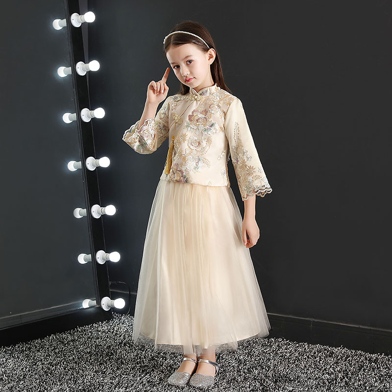 Chinese-style Girls Puffy Princess Dress New Style Autumn And Winter Big Kid Children Cheongsam Formal Dress New Year Host Costu