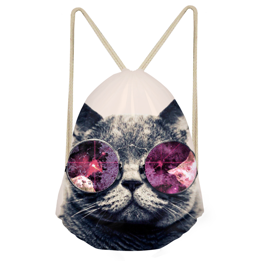 Cat Backpack Drawstring Bag Women Travel Pouch Cute Animal 3D Prints Small Backpacks Mochilas Storage Dust-Proof Bags For Kids