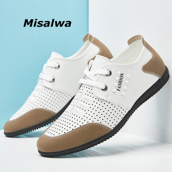 Misalwa Elevator 5CM Men Shoes Summer Casual Leather Loafers Flat / Height Increase Hollow White Sneakers Adult Moccasins