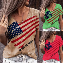 2021 Summer Cotton Short-sleeved Shirt Loose Hedging Personality Printed Top T-shirt National Flagprinting Oversized T-shirt