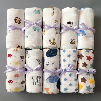 1pc Muslin 100% Cotton Newborn Swaddles Soft  Baby Boy Girls Blankets Bath Gauze Infant Wrap Sleepsack Stroller Cover Play Mat