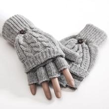 1 Pair Women Knitted Soft Half Finger Gloves Gray Beige Black Flip Type Autumn W