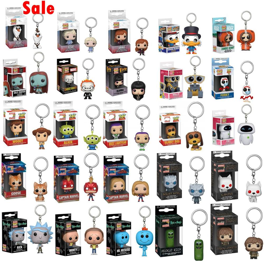 Funko Pop Keychain Disney Frozen 2 Toy Story Pixar EVE & WALL-E Toys Doll Captain Marvel Avengers Rick Morty Game Of Thrones Toy