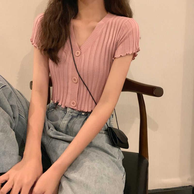 여름 여성 v-목 니트 캐주얼 반소매 카디건 레이디 편직 싱글 스웨터 셔츠 자르기 탑스 여자