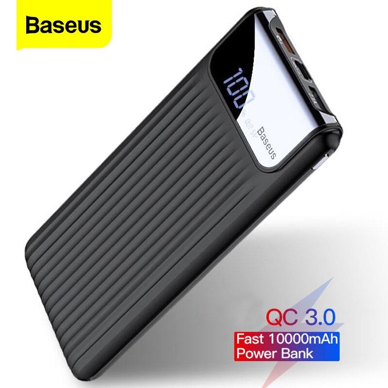 Зарядное устройство Baseus, 10000 мАч, с ЖК дисплеем, быстрая зарядка, QC3.0, 3,0, Dual USB, для iPhone X, 8, 7, 6, Samsung S9, S8, Xiaom