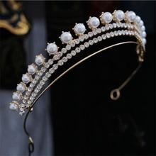 Simple Fashion Rhinestone Pearls Crown Headband Gorgeous Tiaras and Crowns Wedding Ornaments Bridal Hair Jewelry Accessories