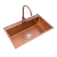 Раковина под столешницу из розового золота, кухонная раковина из 304 нержавеющей стали, одночаша, 30 дюймов