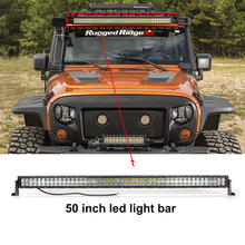 ECAHAYAKU 1x 50 Inch Led Light Bar curved COMBO 288W Dual Row Driving beam Off road for 4x4 SUV ATV 12V jeep boat trailer truck