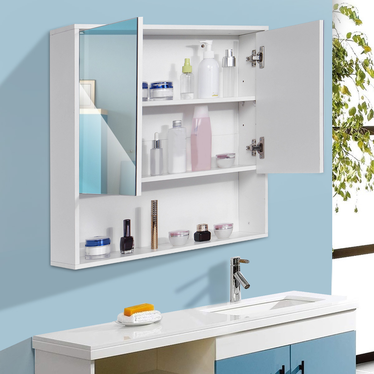 Bathroom Cabinet 60x60cm Wall Mounted Bathroom Mirror CabinetsToilet Furniture  Cupboard Shelf Storager Modern Style UK Stock