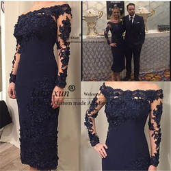 Платья для матери невесты 2019 Темно-синие оболочка атласный до лодыжки с открытыми плечами одежда с длинным рукавом Для женщин Вечернее, для