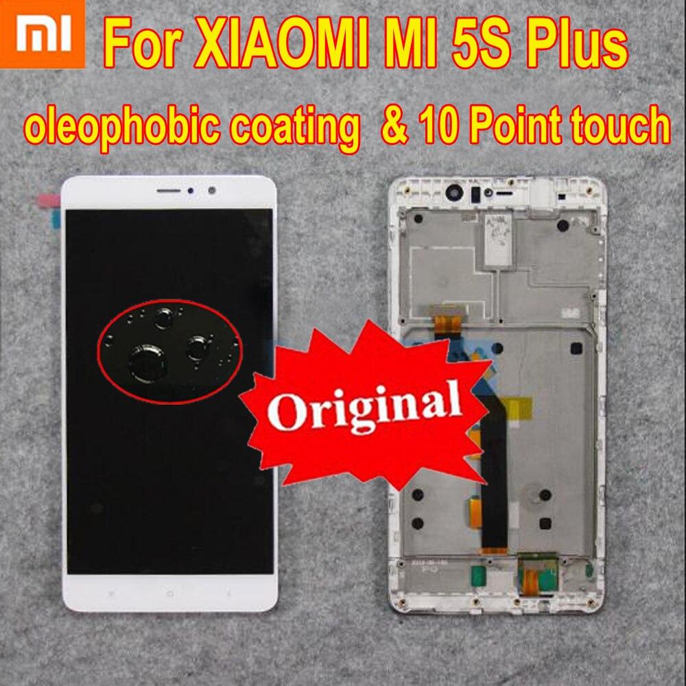 100% Original meilleur travail LCD écran tactile écran numériseur assemblage capteur avec cadre pour Xiao mi 5S Plus mi 5S Plus