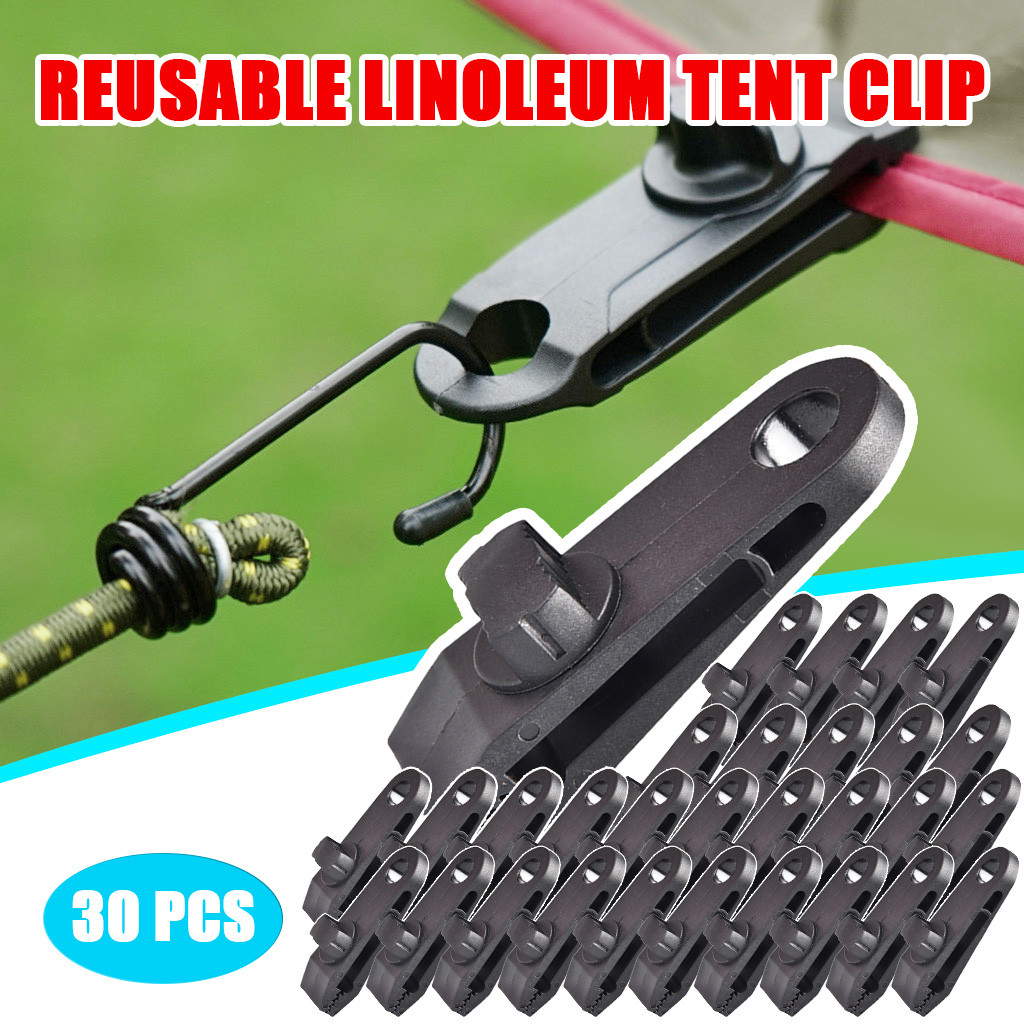 ZHER-LU 10PCS Crocodile Mini Clip Tent Lined Hanging Hook For Awning Clamp Tent Outdoor Camping Canopy Windproof Black