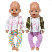 Fit 17 inch American OG Girl Doll Clothes 43cm Purple Pink 3-Piece Autumn Winter Pentagram Down Jacket For Baby Birthday Gift