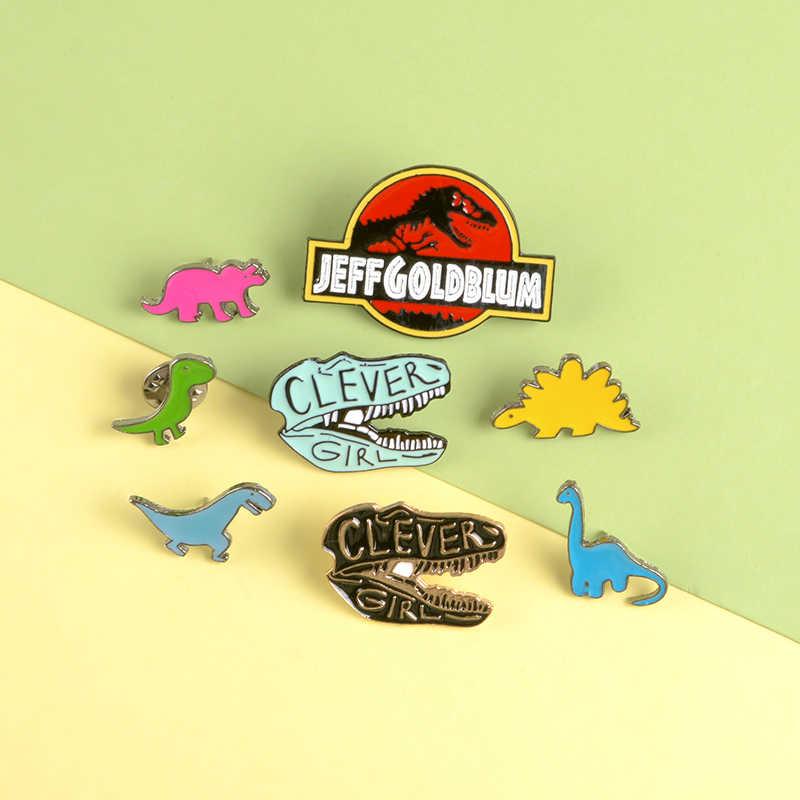 Dinosaurus Elemen Kerah Pin Gadis Pintar Berwarna-warni Sederhana Kartun Bros Lencana Ransel Enamel Pin Perhiasan Hadiah untuk Teman