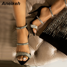 Aneikeh Newest Sexy Shoes Woman CRYSTAL Thin Heels Gladiator