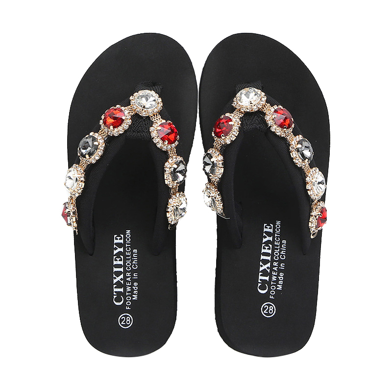 Kids Slippers Summer Rhinestone Flip Flops Beach Shoes For Girls Comfortable Home Slippers Children Fashion Barefoot Shoes in Slippers from Mother Kids