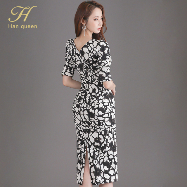 H Han Queen Flower Print Fashion Pencil Dress Women Casual Dresses Office Lady Evening Party Sexy Elegant Simple Series Vestidos 2