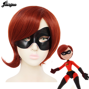 Ebingoo The Incredibles Elastigirl cosplay girl Helen Parr Wig Red Brown Synthetic Halloween Costume Party Wig+Eye Mask helen parr backpack helen parr backpacks student high quality bag print trending shopper multifunction bags