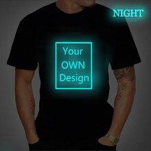 Camiseta sua própria marca de design logotipo/imagem personalizado homens e mulheres diy algodão t camisa de manga curta casual camiseta topos luminoso