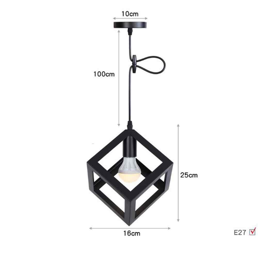 Vintage Black Cube E27 lampada a sospensione, Gabbia Lampade A Sospensione Per isola Della Cucina agriturismo con lunghezza regolabile cavo e baldacchino