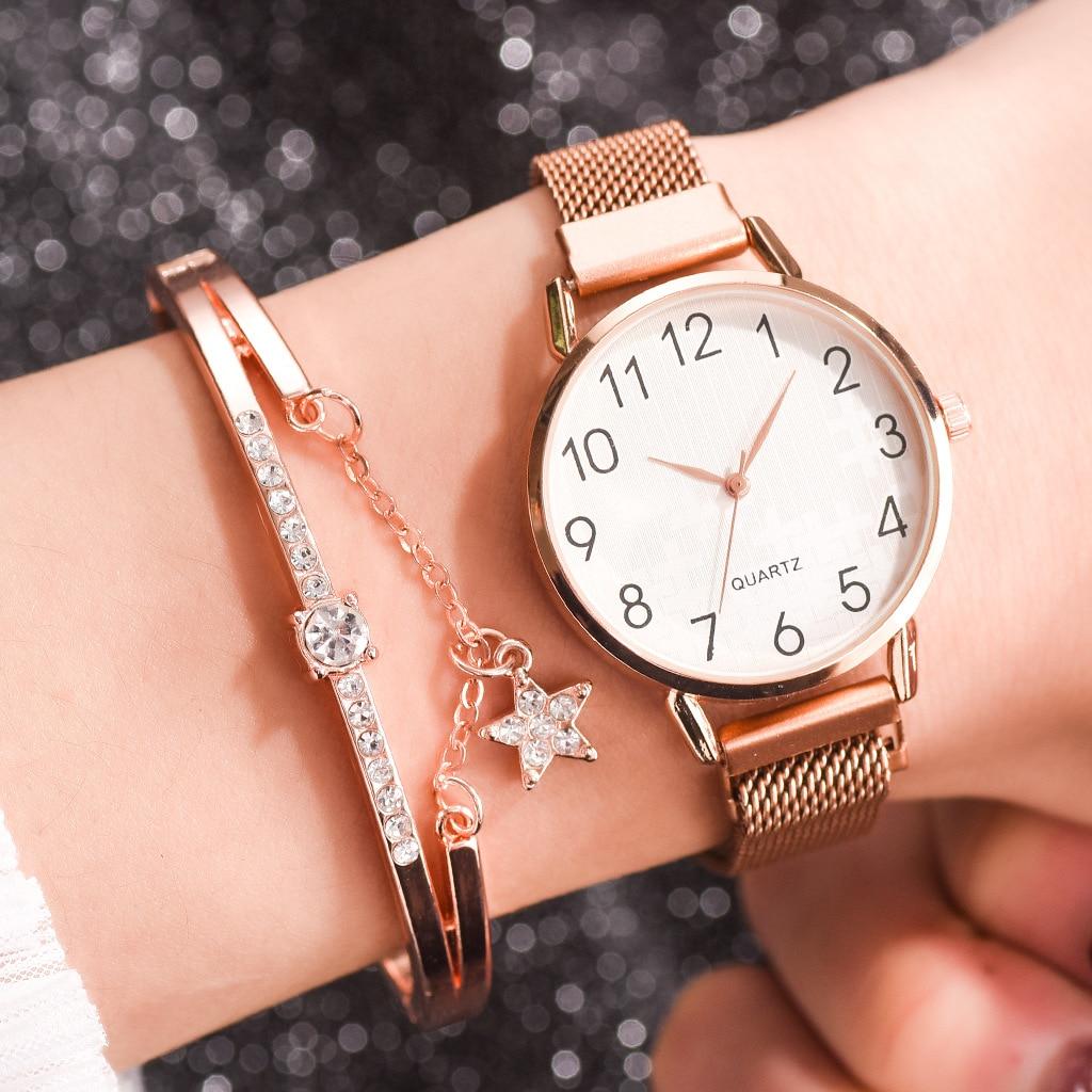 Soxy 2 PCS Set Women Watches Simple Romantic Rose Gold Watch Women's Wristwatch Ladies Watch Relogio Feminino Diamond Bracelet