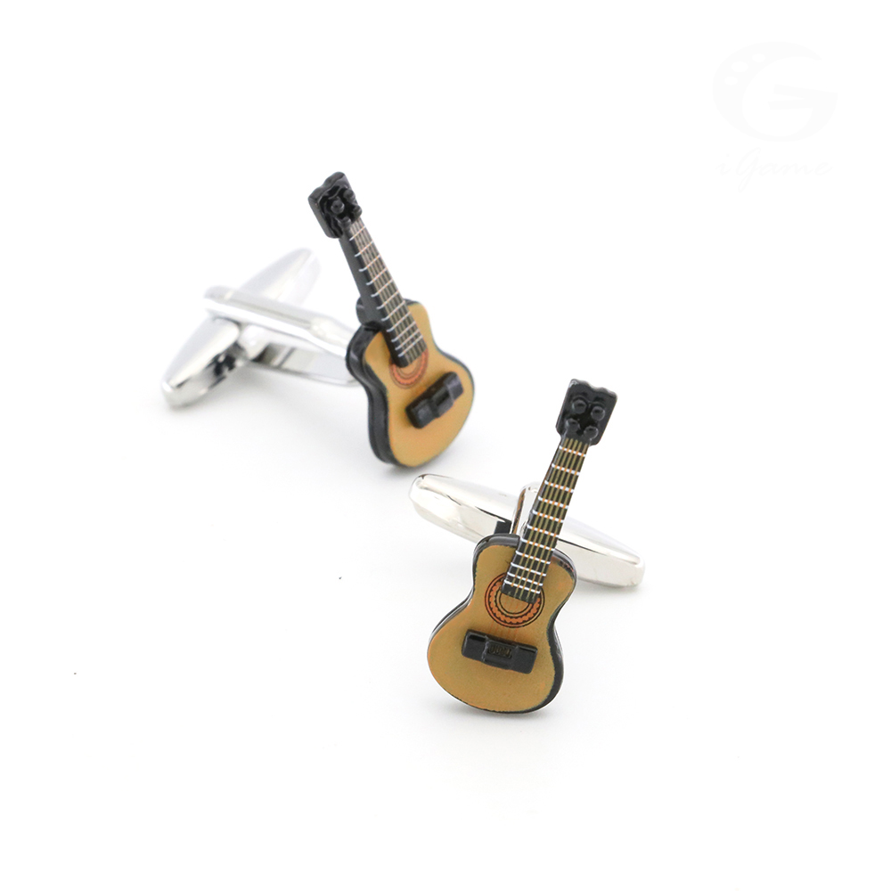 Guitar Cuff Links For Men Musical Instruments Design Quality Brass Material Coffee Color Cufflinks Wholesale&retail