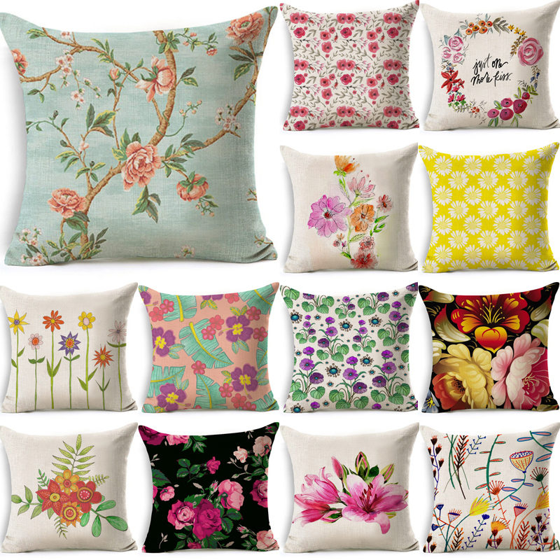 1 Pcs Color Flower Pattern Cotton Linen Throw Pillow Cushion Cover Car Home Sofa Bed Decorative Pillowcase Funda Cojin 40031