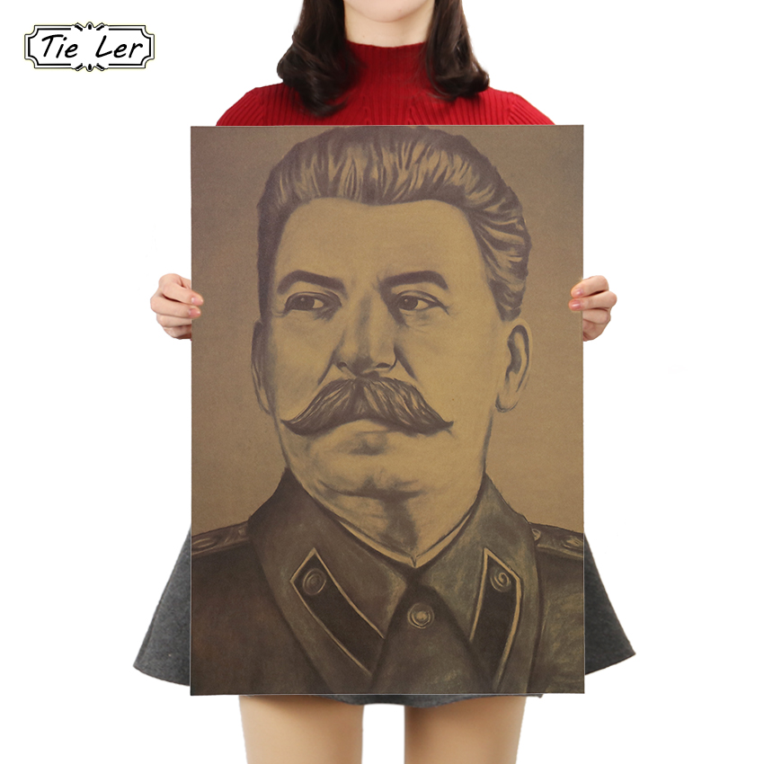 TIE LER Stalin USSR Kraft Paper Poster Cafe Bars Kitchen Decor Posters Adornment Vintage Poster Retro 50x35cm Wall Stickers
