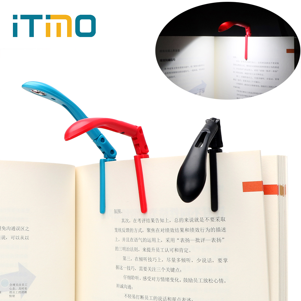 ITimo Flexible Clip-on Book Reading Lamp LED Book Lights With Battery For Reader Kindle Adjustable Folding