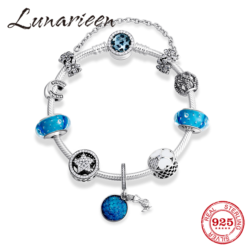 Snake Charm Bracelet for Women With Murano Glass Bead 925 Silver 20cm  15 Charms